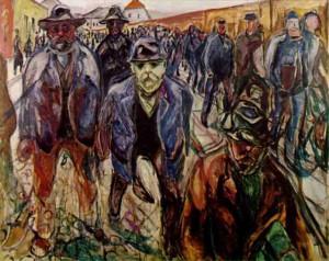 """""""Lavoratori sulla via di casa"""" - Edvard Munch (1915)"""