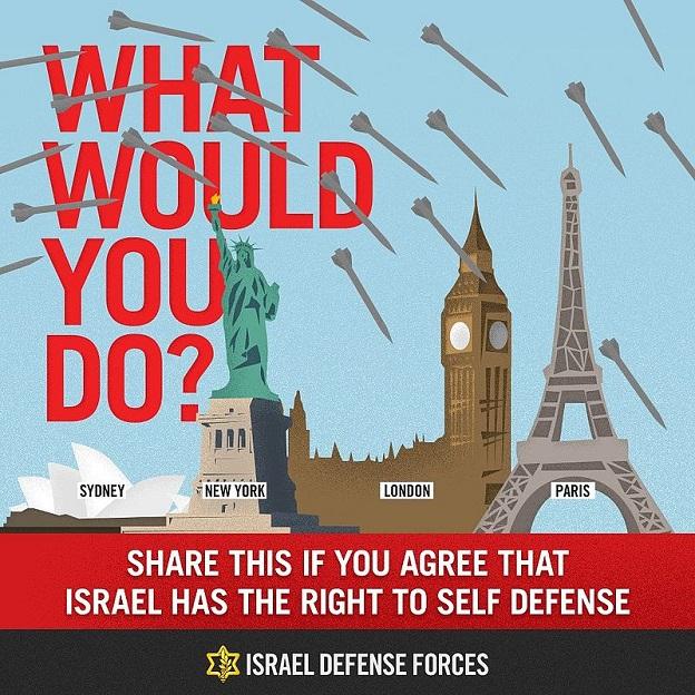 'Che cosa faresti?' Condividilo se sei d'accordo che Israele ha il diritto di difendersi. – Esercito Israeliano (Letteralmente: forze israeliane di difesa)
