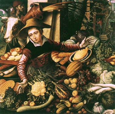"""Pieter Aertsen (1508-1575): """"Venditore di verdura al mercato"""""""